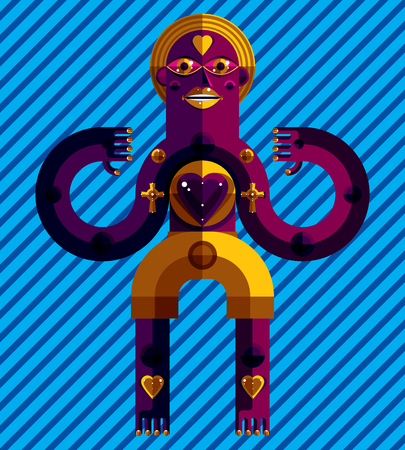 idol: Meditation theme vector illustration, drawing of a creepy creature made in modernistic style. Spiritual idol created in cubism style. Love concept. Illustration