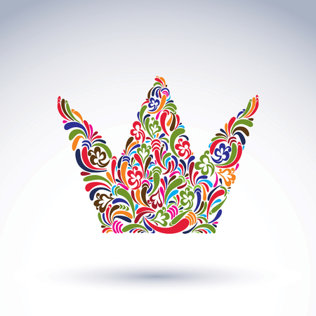 coronation: Colorful flower-patterned crown, coronation vector design element. Classic royal accessory decorated with abstract flower pattern.
