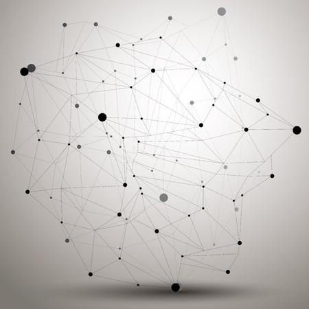 非対称 3次元抽象オブジェクトで接続されたラインやドット、格子構造と幾何学的形状。  イラスト・ベクター素材