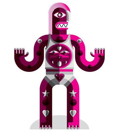 cubismo: Cubismo tema vector ilustración gráfica, símbolo modernista. Personaje de dibujos animados geométrica, criatura mítica o chamán. Dibujo colorido de ídolo pagano. Vectores