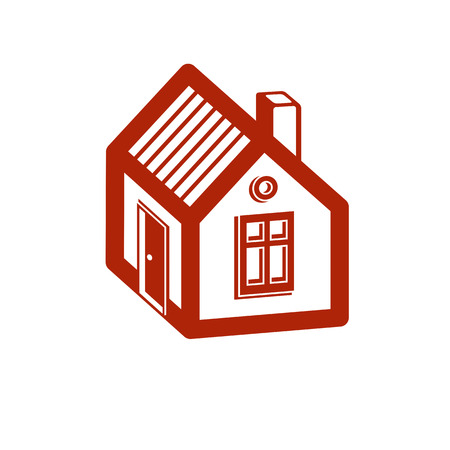 urban planning: Simple mansion icon isolated on white background, vector abstract house. Country house, conceptual sign best for use in graphic and web design.
