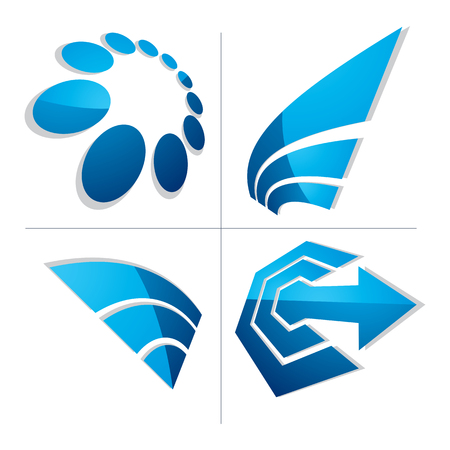 intention: Three-dimensional graphic elements collection with arrows, business development and technology innovation theme vector icons. Company growth concept, set of 3d abstract identity symbols.