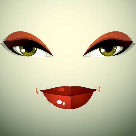 countenance: Attractive woman with stylish bright make-up. Sexy Caucasian distrustful lady. Human eyes and lips reflecting emotions, doubt. Illustration