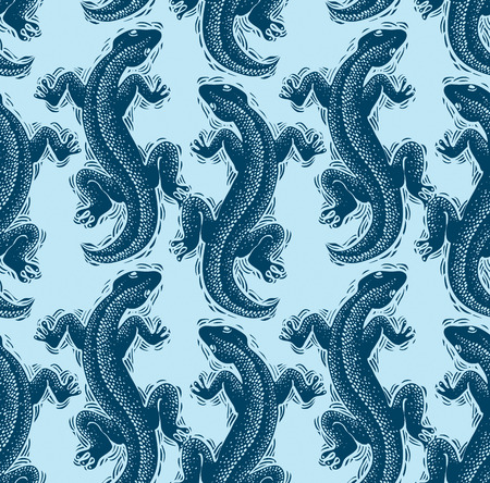zoology: Vector lizards wrapping paper, seamless pattern with reptiles, art zoology wallpaper. Stylized lizards top view. Illustration