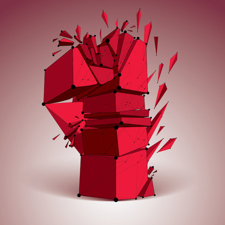 Abstract vector low poly wrecked red number one with black lines and dots connected. 3d origami futuristic font with lines mesh.