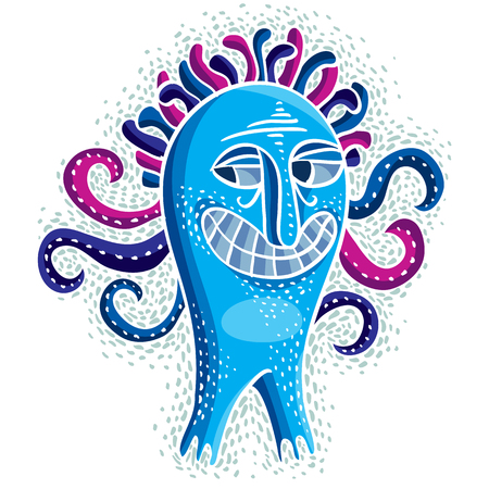 weird: Character monster vector flat illustration, crazy smiling blue mutant. Drawing of weird beast, emotional expression.