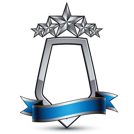 relic: Five vector silver stars with wavy ribbon placed over protection shield, 3d sophisticated pentagonal design element, clear EPS 8 emblem.