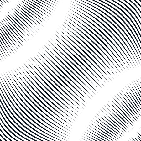 moire: Optical background with monochrome geometric lines. Moire pattern, trance effect.