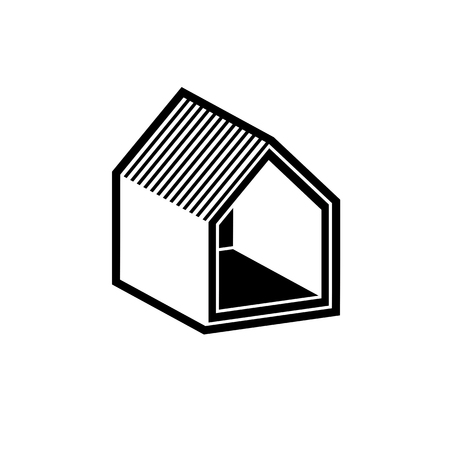 simple house: Property developer conceptual business vector icon, real estate emblem.  Building modeling and engineering projects abstract symbol. Simple house.