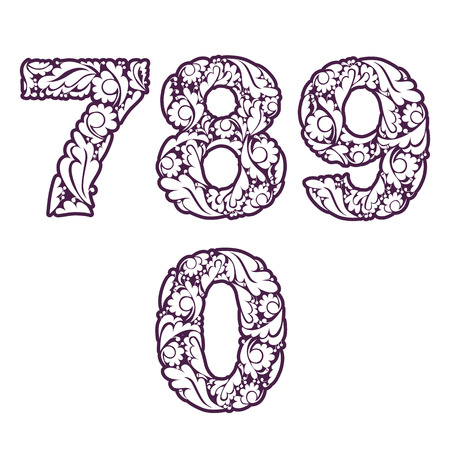 flowery: Decorative numerals with natural pattern. Flowery digits, calligraphic numbers isolated.