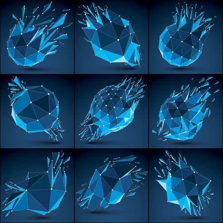 luminescent: 3d vector low poly objects with blue connected lines and dots, set of geometric wireframe shapes with refractions. Deformed perspective shattered forms. Luminescent effect, communication technology.