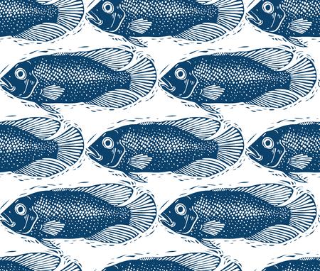 sea bass: Seamless sea vector pattern, different fish silhouettes. Hand drawn fauna wallpaper, aqua nature continuous background.