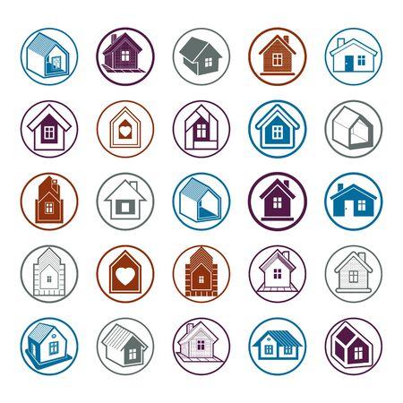 Cottages-collectie, onroerend goed en bouwthema. Huizen vectorillustratie