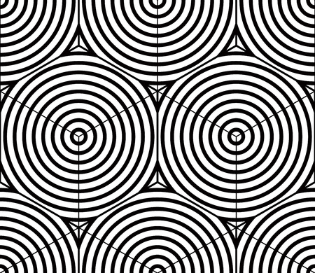 twine: Graphic seamless abstract pattern, regular geometric black and white 3d background. Contrast circle ornament.