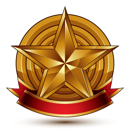 Branded golden symbol with stylized pentagonal glossy star and red decorative curvy ribbon, best for use in web and graphic design. Refined vector icon placed on a round surface. Sophisticated gold ring isolated on white background.