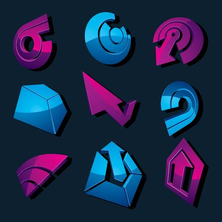 Geometric abstract blue and purple vector shapes. Collection of arrows, navigation pictograms and multimedia signs, for use in web and graphic design.