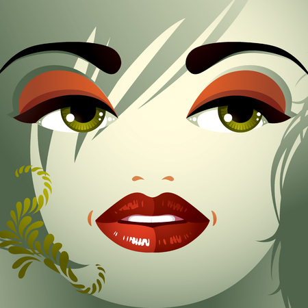 distrustful: Parts of the face of a young beautiful lady with a bright make-up, lips, eyes and eyebrows. People facial expression, woman with modern hairstyle. Illustration