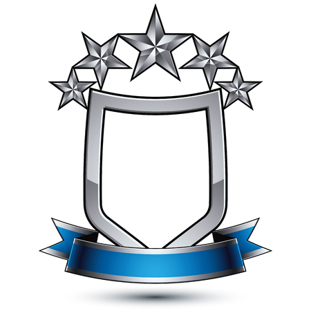 sophisticated: Five vector silver stars with wavy ribbon placed over protection shield, 3d sophisticated pentagonal design element, clear EPS 8 emblem.