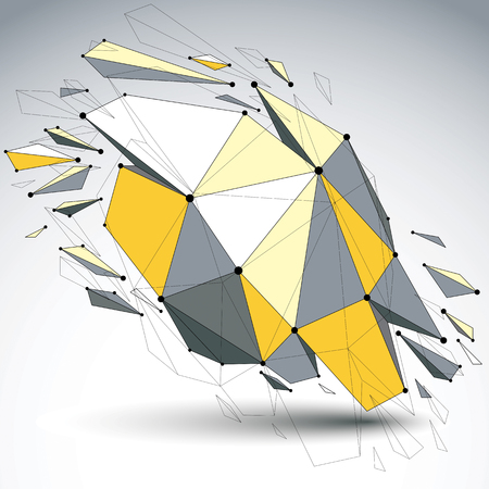 demolished: Perspective demolished shape, lines and dots connected, yellow polygonal digital wireframe object. Explosion effect, faceted element cracked into multiple fragments. Communication technology. Illustration