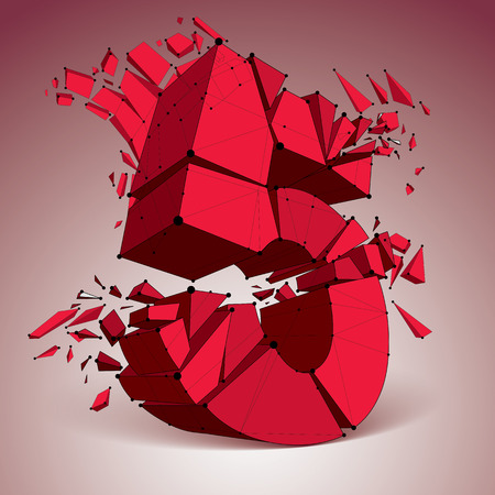refractions: 3d vector low poly red number 5 with black connected lines and dots, geometric wireframe font with refractions. Perspective shattered digit with thread