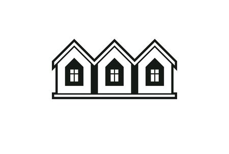 locality: Simple monochrome cottages vector illustration, black and white country houses, for use in graphic design. Real estate concept, region or district theme. Property developer abstract corporate image.