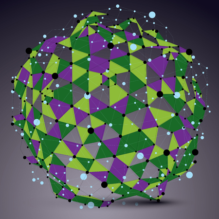mesh structure: Abstract asymmetric vector colorful spherical structure with wire mesh, complicated geometric shape. Lace multicolored figure.