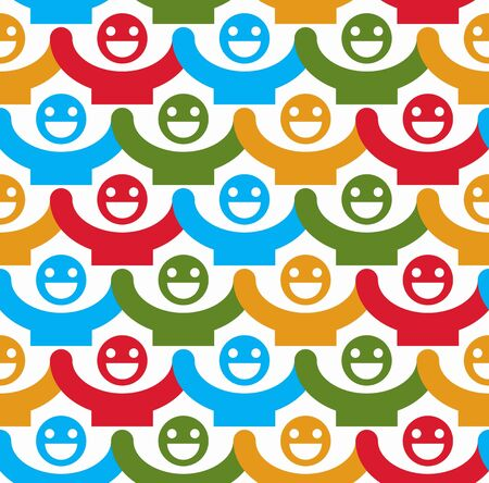 Seamless vector background with colorful smiley faces. People with positive emotions and holding their hands up continuous backdrop. Illustration