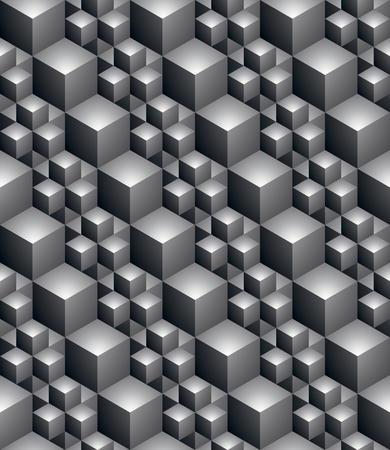 covering: Black and white abstract textured geometric seamless pattern. Vector contrast textile backdrop with three-dimensional cubes and squares. Graphic contemporary futuristic covering.