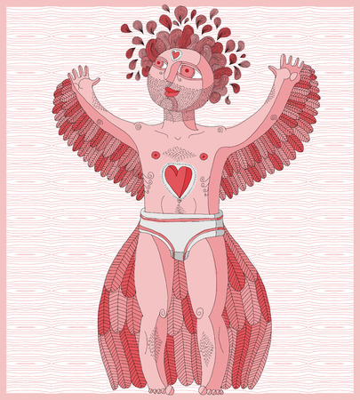 nude male: Vector hand drawn graphic lined illustration of weird creature, cartoon nude man with wings, animal mystic side of human being. Idol concept, artistic allegory drawing. Illustration