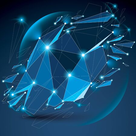 facet: Perspective digital technology shattered shape with black lines and dots connected, polygonal wireframe blue object with lens circles. Explosion effect, blue facet element cracked into fragments.