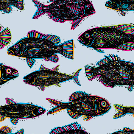 sea bream: Freshwater fish vector endless pattern, nature and marine theme seamless tiling. Seafood wallpaper, zoology idea background.