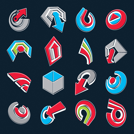circular arrow: 3d vector abstract shapes, different business icons and design elements collection. Geometric abstract arrows for use as navigation pictograms and app buttons.