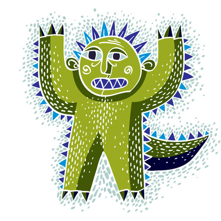mythic: Vector cool cartoon scared green monster, simple weird creature. Clipart mythic character for use in graphic design and as mascot.
