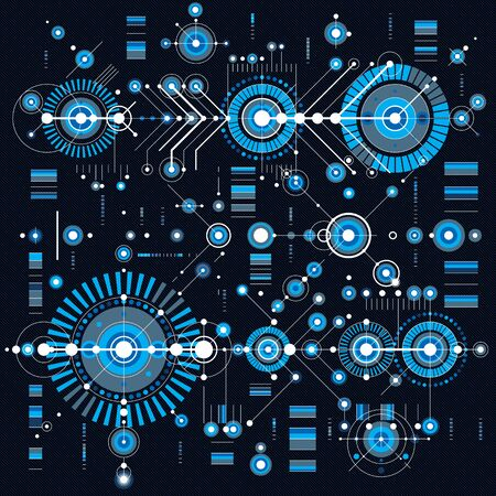 blue background: Architectural blueprint, vector digital background with different geometric design elements. For use as website background.