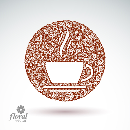 rendezvous: Flower-patterned cup of coffee with aromatic steam. Rendezvous theme floral vector illustration.