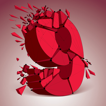 numeration: 3d vector digital wireframe number 9 broken into different particles, geometric red polygonal numeration with lines mesh. Low poly shattered typescript, lattice element. Illustration