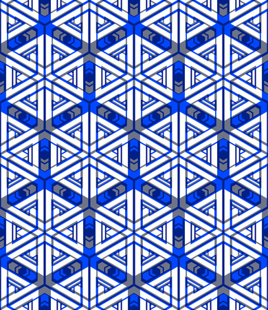 Illusive continuous colorful pattern, decorative abstract background with 3d geometric figures. Bright transparent ornamental seamless backdrop, can be used for design and textile. Vektorové ilustrace