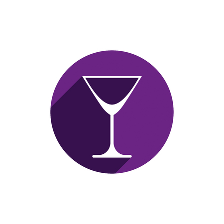 bocal: Alcohol beverage theme icon, classic martini glass placed in circle. Colorful restaurants and cafes brand emblem. Illustration