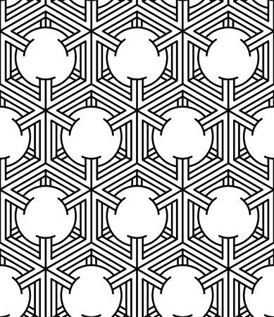 splice: Endless monochrome symmetric pattern, graphic design. Geometric circles intertwine optical composition. Illustration