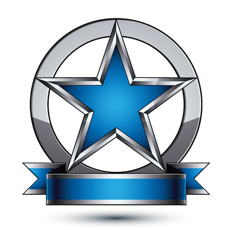 renown: Renown vector silver star with wavy ribbon placed in a circle, 3d sophisticated pentagonal design element, clear EPS 8 emblem.