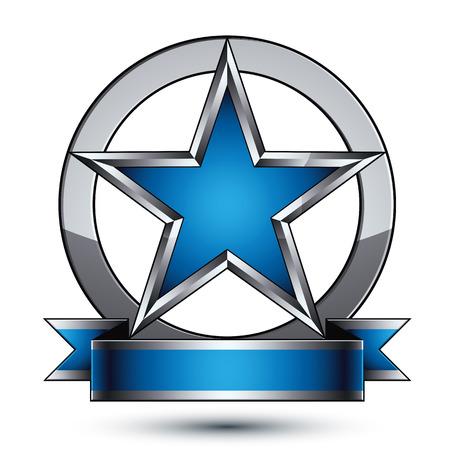 Ruhm Vektor silbernen Stern mit wellenförmigen Band in einem Kreis angeordnet, 3d anspruchsvollen fünfeckigen Design-Element, klar 8 EPS-Emblem. Vektorgrafik