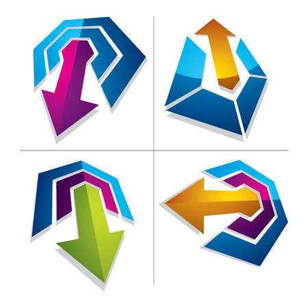 threedimensional: Three-dimensional graphic elements collection with simple arrows, business development and technology innovation theme vector icons. Company growth concept, set of 3d abstract symbols.
