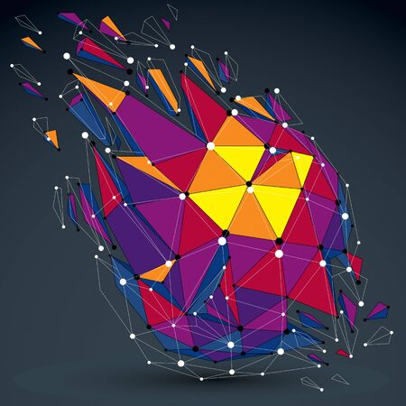 fragmentation: Vector dimensional colorful wireframe object, demolished low poly shape with fractures and wreckage. 3d lines mesh digital technology element broken into pieces. Illustration