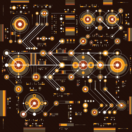 industrial drawing: Future technology vector drawing, industrial wallpaper. Graphic illustration of engine or mechanism. Illustration
