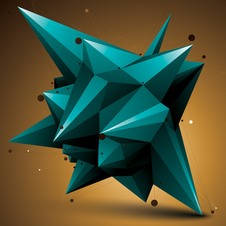 spatial: Spatial vector turquoise digital object, 3d technology figure with geometric elements and wireframe. Illustration