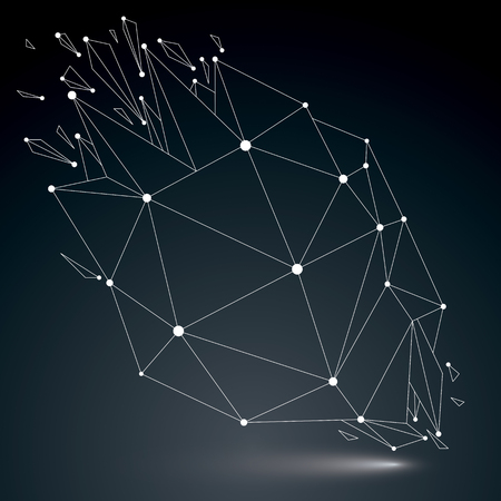 luminescent: 3d vector low poly object with white connected lines and dots, geometric wireframe shape with refractions. Asymmetric perspective shattered form. Luminescent effect, communication technology.