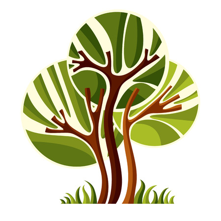Artistic stylized natural symbol, creative tree illustration. Can be used as ecology and environmental conservation concept.