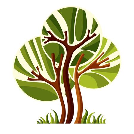 Artistique symbole naturel stylisée, créatif tree illustration. Peut être utilisé comme l'écologie et le concept de protection de l'environnement.