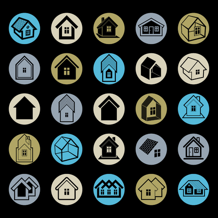 depiction: Different houses icons for use in graphic design, set of mansion conceptual symbols, vector abstract property images. Real estate business abstract emblems collection. Illustration