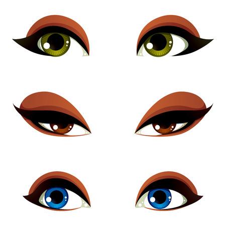 mujeres morenas: Conjunto de vector azul, marrón y ojos verdes. Ojos femeninos que expresan diferentes emociones, rasgos faciales de seducir a las mujeres.